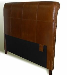 Queen Size Genuine Leather Headboard with Nail Heads -In Multiple leather Colors