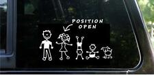 STICK FIGURE FAMILY Position Open Car Window FUNNY STICKER DECAL CUSTOMIZABLE