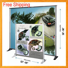 8' Telescopic Banner Stand  Backdrop Wall Exhibitor Trade Show Display Pop up