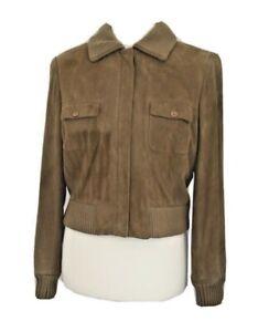 Vintage Liz Claiborne Collection Ladies Beige Suede Bomber Jacket Size 14