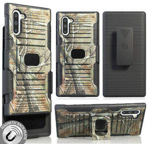 Camo Tree Leaf Real Woods Rugged Case + Belt Clip for Samsung Galaxy Note 10