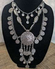 Bohemian/ Gypsy /Boho TRIBAL  Metal SILVER/PEWTER​ Necklace / Hippie Ethnic NEW