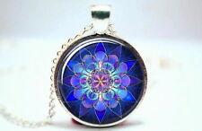 Chakra Mandala - Silver Tone Photo Glass Dome Necklace Pendant