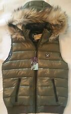 NWT American Eagle olive faux fur hooded puffer vest