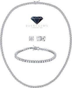 White gold finish created diamond Tennis necklace Bracelet Earrings Gift Set