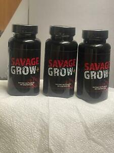 New Savage Grow Plus Pills - 3 PACK - 180 Capsules - Free Shipping