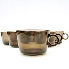 Rétro vintage 1970 s French VEROPA Fumé Verre Set 8 petit café Punch Cups
