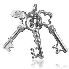 Set di chiavi Ciondolo Argento Sterling 925 tre 3 NEW HOME cmhmky 01