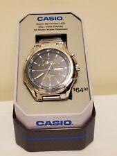 Casio MTPE200D-12TN,  Silvertone Bracelet Watch, Super Illuminator, Day/Date