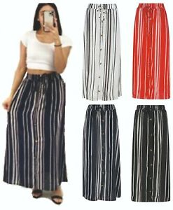 Ladies Womens Skirt Maxi Summer Long Stripe Striped Cotton Bottoms Dress NEW