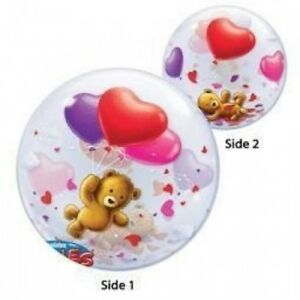 """Teddy Bear With Hearts Bubbles Balloon  22"""" Qualatex Round See Thru Double Sided"""