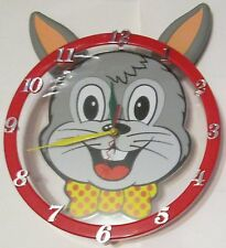 Whimsical Bunny Rabbit Pendulum Swinging Ears Wall Clock with Second Hand