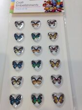 1 PACK OF 18 STICK ON BUTTERFLY GEMS IDEAL FOR CRAFTING  SIZE 20 X 20 CM APPROX