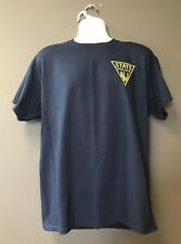 NJSP New Jersey State Police Blue Short Slv T-Shirt w Gold TRIANGLE Over Heart