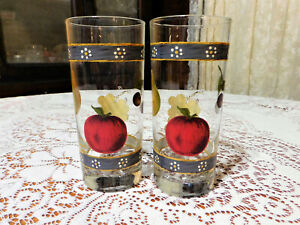 Vintage 50s-70s Pair Of Libbey? Fruit Motif Glass Tumblers W/ACL Fruit & Borders