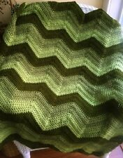 CROCHET blanket afghan couch throw baby chevron ripple handmade OLIVE GREEN new