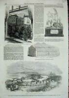 Original Old Antique Print 1853 Dumbarton Roman Sarcophagus Town-Hall Watford