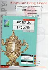 FINAL Australia v England 1991 Rugby World Cup Programme Ticket Song Sheet