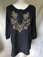 Womens Shirt Size Large Larry Lavine Blouse Tunic Black Tan Embroidery Worn 1X