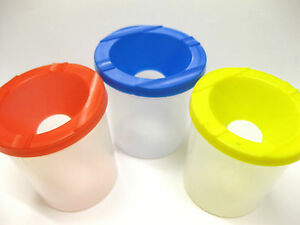 2 SETS OF 3 NON SPILL WATER PAINT BRUSH WASH POT STABLE PAINTING PRE SCHOOL NEW
