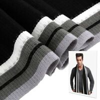 Mens Classic Winter Knit Scarf Warm Long Striped Shawl Black & White