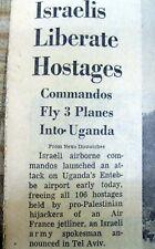 1976 Washington Post newspaper ISRAEL RAID on ENTEBBE Uganda frees Jewish hostag