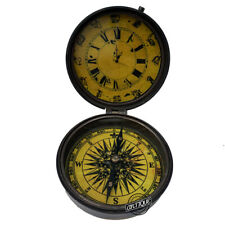 Antique Clocks, Vintage Clock & Nautical Compass, Gift For Sailor, Father Mother