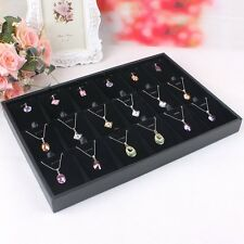 Black Pendant Jewelry Display Box Ring Earring Showcase Storage Case Organizer