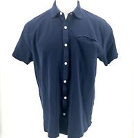 Orvis Mens Polo Shirt LARGE L Blue Short Sleeve 100% Cotton Collared Button Down
