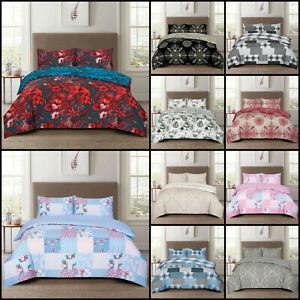 Complete Duvet Quilt Cover Poly Cotton Rich Set With Fitted Sheet & Pillow Case
