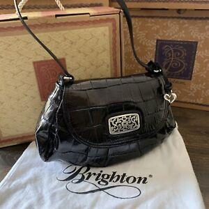 Brighton Black Leather alligator embossed handbag purse satchel silver
