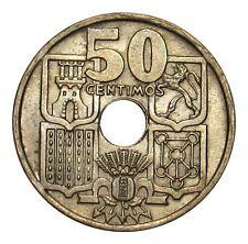 Spain 50 Centimos coin 1949 - 1951 KM# 776 Revers downward Arrows anchor RARE!!!