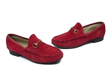 Authentic GUCCI women's red suede horsebit loafers | Size EUR 40 /US 8.5 (9.8in)