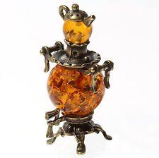 "Brass & Baltic Amber Decorative Samovar Figurine Russian Miniature Souvenir 1.6"""