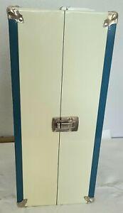 "16"" Vintage DOLL WARDROBE TRUNK ~  Blue & Off-White Metal Case HTF 1950's Nice!"