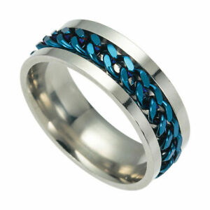 Men's Punk Stainless Steel Geometric Chain Link Jewelry Ring Band Gift