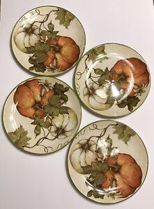 """Pier 1 Imports HARVEST GARDEN 9"""" Plate Set 4Pc Pumpkins Susan Winget"""