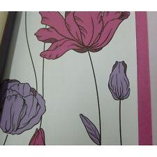 Carta da parati floreale design moderno contemporaneo con fiori colorati fuxia e