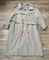 MEN'S BROOKS BROTHERS KHAKI wool LINED TRENCH COAT Size 44R MADE IN USA