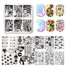 5Pcs/Set Born Pretty Cat Tiger Leopard Eye Flower Nail Stamping Plates Templates