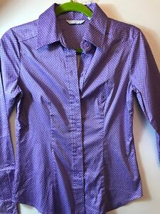 New York Co Purple White Fitted Stretch  Cotton Small Bnwt Work Career Summer