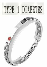 Type 1 Diabetes Medical Alert 316L Stainless Steel Link Unisex Bracelet, 8