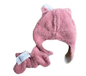NWT CARTER'S Baby Girl Pink Sherpa Bear Earflap Beanie & Mittens Set 12-24M, $26