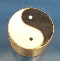 Vintage Yin Yang Gold Tone Round Pill Box