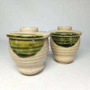 D0781: Japanese pair of covered bowl of really old ORIBE pottery with good glaze