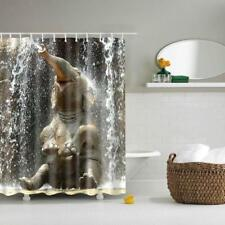 Waterproof Shower Curtain + 12 Hooks Funny Elephant Print Bathroom Polyester