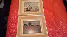 Due incorniciato foto Wild PAPAVERI MONET e barche a Les Saintes Madonne Van Gogh