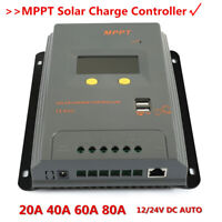 Home LCD 30//40//60//80A 12//24V MPPT Solar Panel Regulator Charge Controller 3Timer