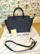 Michael Kors Selma Navy Blue saffiano leather Tote Gold Hardware Dustbag BNWOT