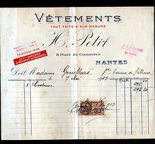 """NANTES (44) VETEMENTS sur mesure / CONFECTION """"H. PETIT"""" en 1927"""